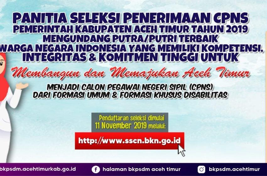Jelang Pendaftaran, Yuk Lihat  Formasi Lengkap CPNS Aceh Timur