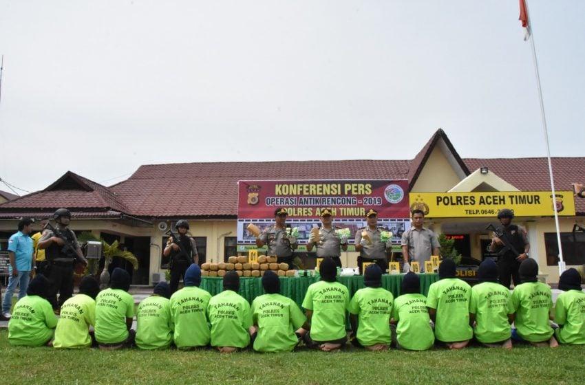 20 Hari, Ribuan Gram Sabu-sabu dan 16 Tersangka Ditahan di Aceh Timur