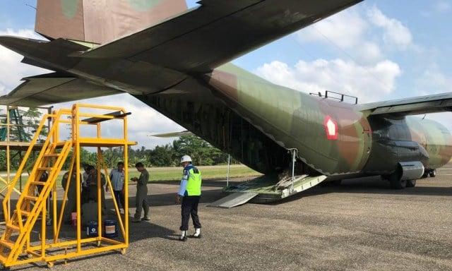 Kerusakan Teknis, Pesawat Hercules TNI Mendarat Darurat di Bandara Exxon Mobil Oil Aceh Utara