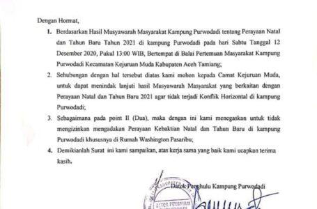 Kepala Desa Di Aceh Minta Jangan Ada Kebaktian Natal Di Rumah Pribadi